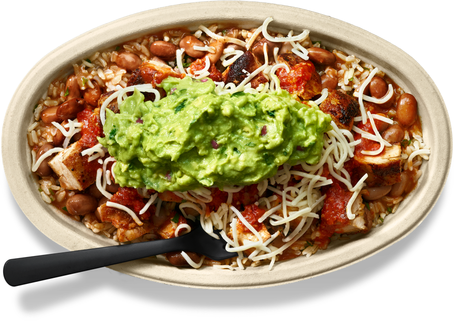 Chicken burrito bowl with guacamole and shredded cheese